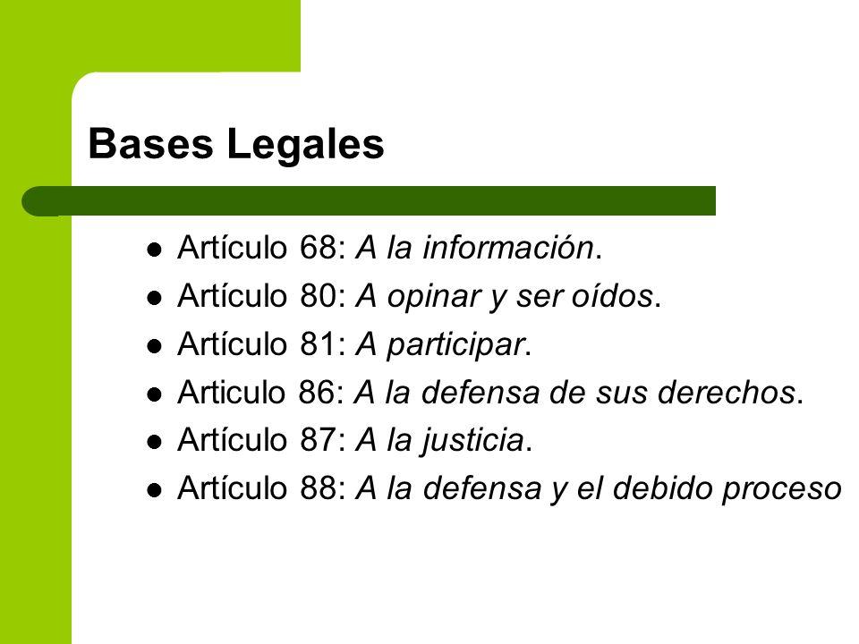 Bases Legales Artículo 68: A la información.