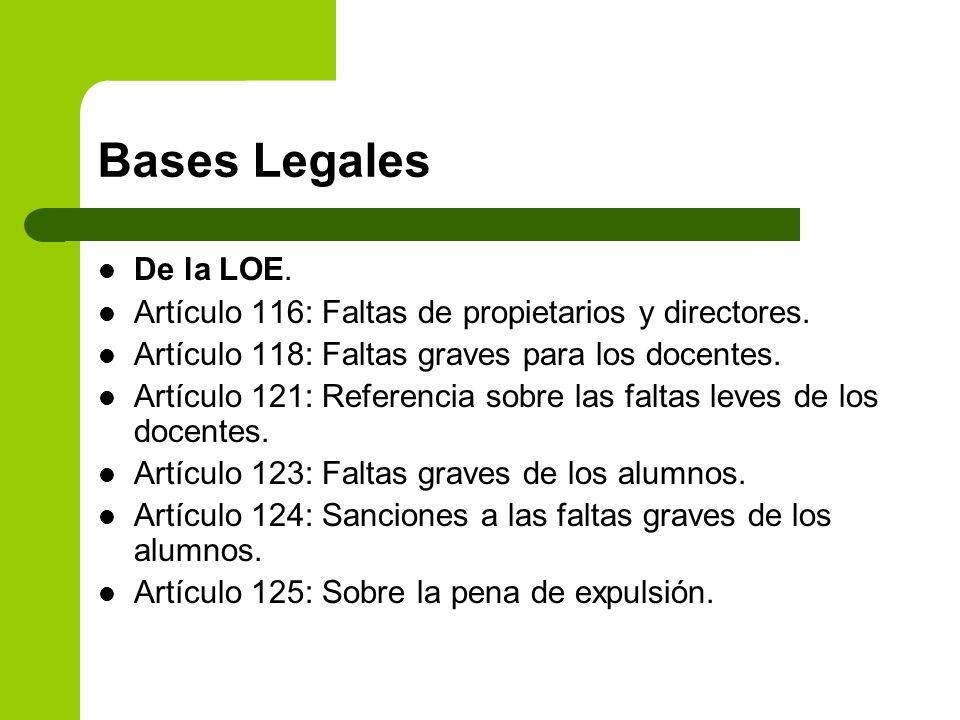 Bases LegalesDe la LOE. Artículo 116: Faltas de propietarios y directores. Artículo 118: Faltas graves para los docentes.
