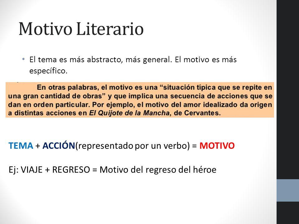 Motivo Literario TEMA + ACCIÓN(representado por un verbo) = MOTIVO