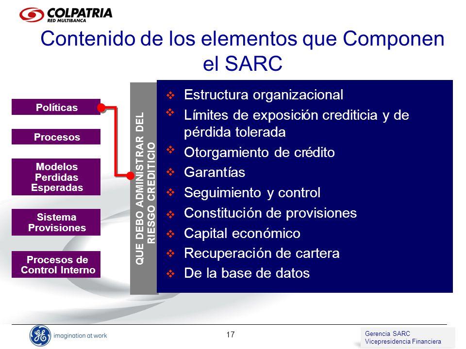 Contenido de los elementos que Componen el SARC