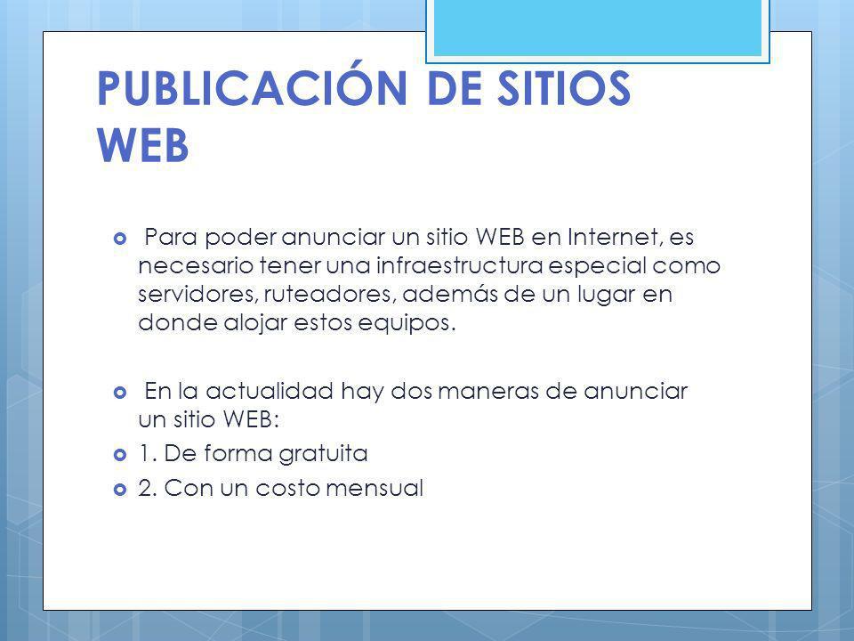 PUBLICACIÓN DE SITIOS WEB