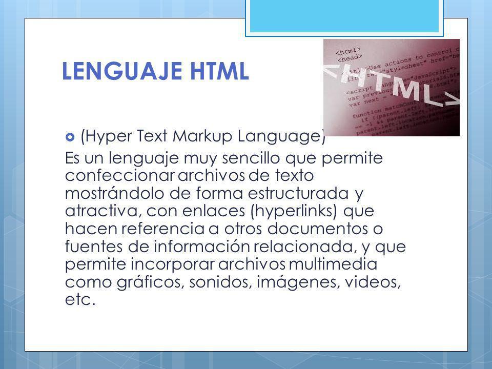 LENGUAJE HTML (Hyper Text Markup Language)