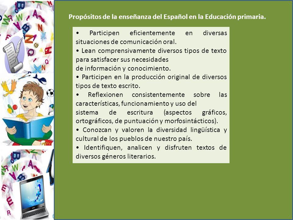 Propósitos de la enseñanza del Español en la Educación primaria.
