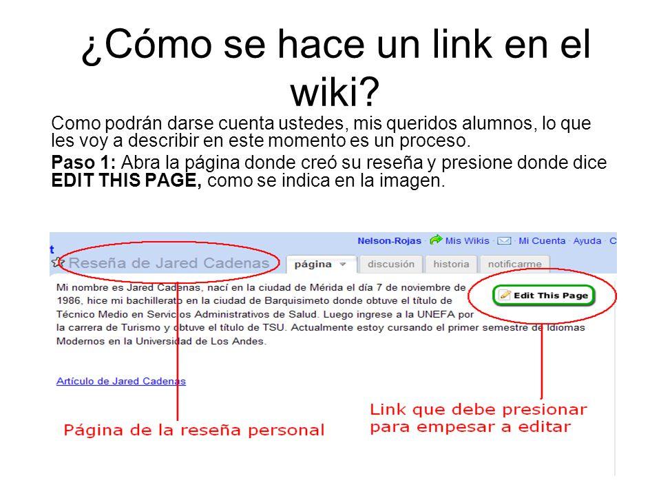 ¿Cómo se hace un link en el wiki