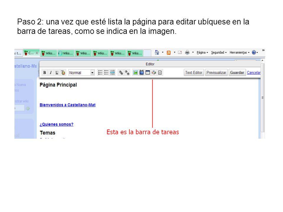 Paso 2: una vez que esté lista la página para editar ubíquese en la barra de tareas, como se indica en la imagen.