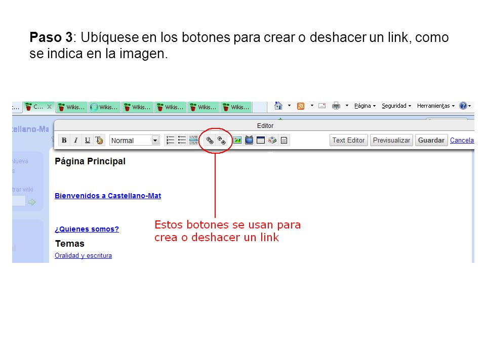 Paso 3: Ubíquese en los botones para crear o deshacer un link, como se indica en la imagen.