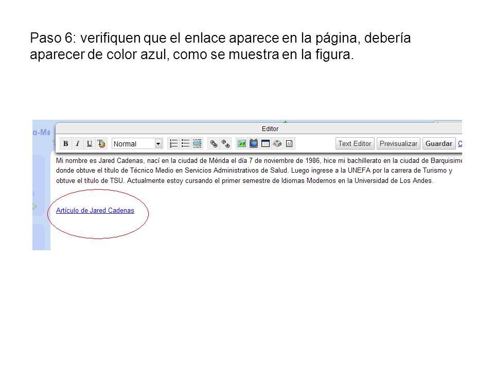 Paso 6: verifiquen que el enlace aparece en la página, debería aparecer de color azul, como se muestra en la figura.
