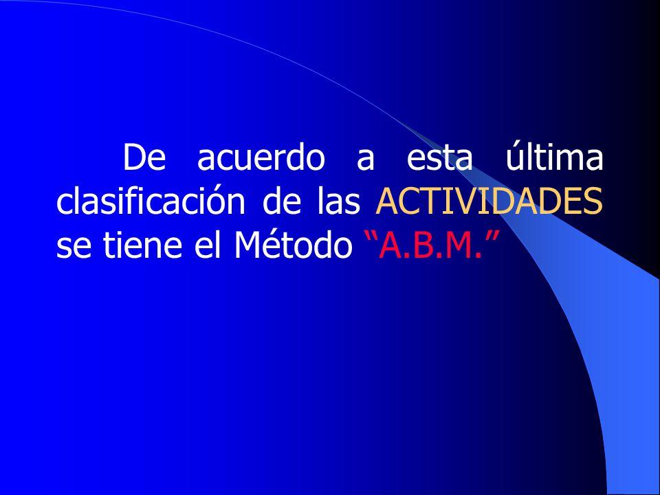 De acuerdo a esta última clasificación de las ACTIVIDADES se tiene el Método A.B.M.