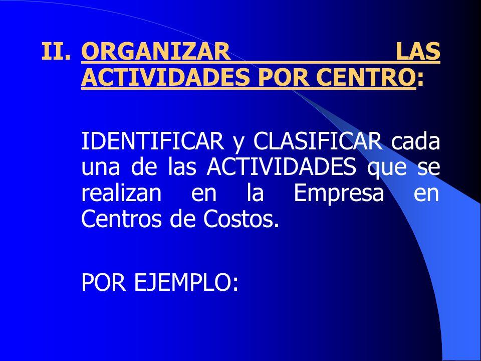 II. ORGANIZAR LAS ACTIVIDADES POR CENTRO: