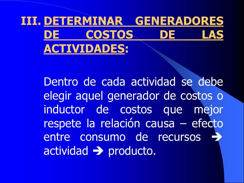 III. DETERMINAR GENERADORES DE COSTOS DE LAS ACTIVIDADES: