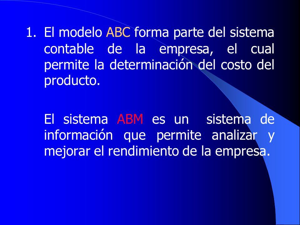 1. El modelo ABC forma parte del sistema contable de la empresa, el cual permite la determinación del costo del producto.