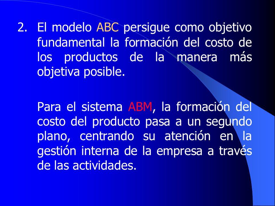 2. El modelo ABC persigue como objetivo fundamental la formación del costo de los productos de la manera más objetiva posible.