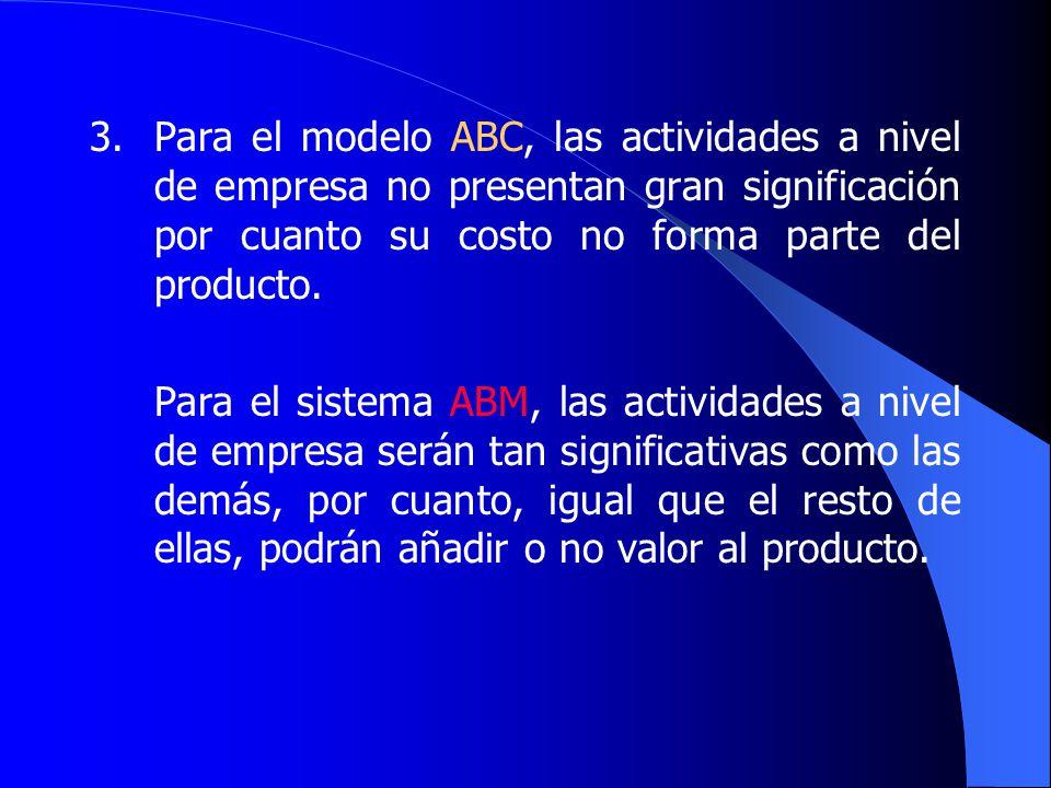 3. Para el modelo ABC, las actividades a nivel de empresa no presentan gran significación por cuanto su costo no forma parte del producto.