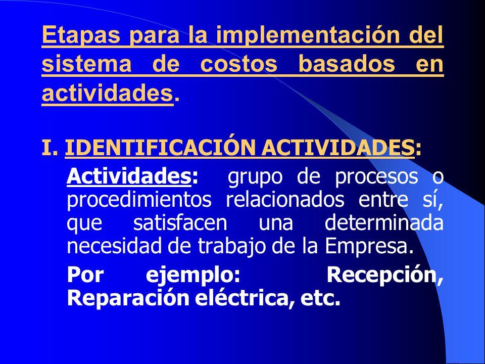 Etapas para la implementación del sistema de costos basados en actividades.