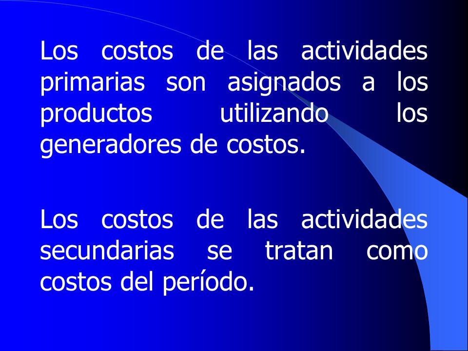Los costos de las actividades primarias son asignados a los productos utilizando los generadores de costos.