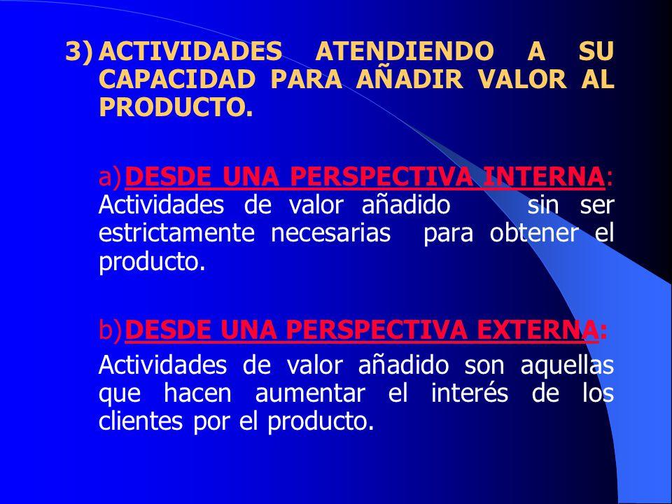 3) ACTIVIDADES ATENDIENDO A SU CAPACIDAD PARA AÑADIR VALOR AL PRODUCTO.