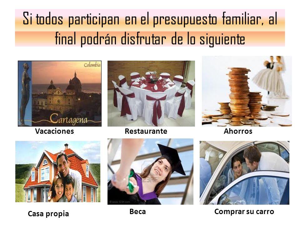Si todos participan en el presupuesto familiar, al final podrán disfrutar de lo siguiente