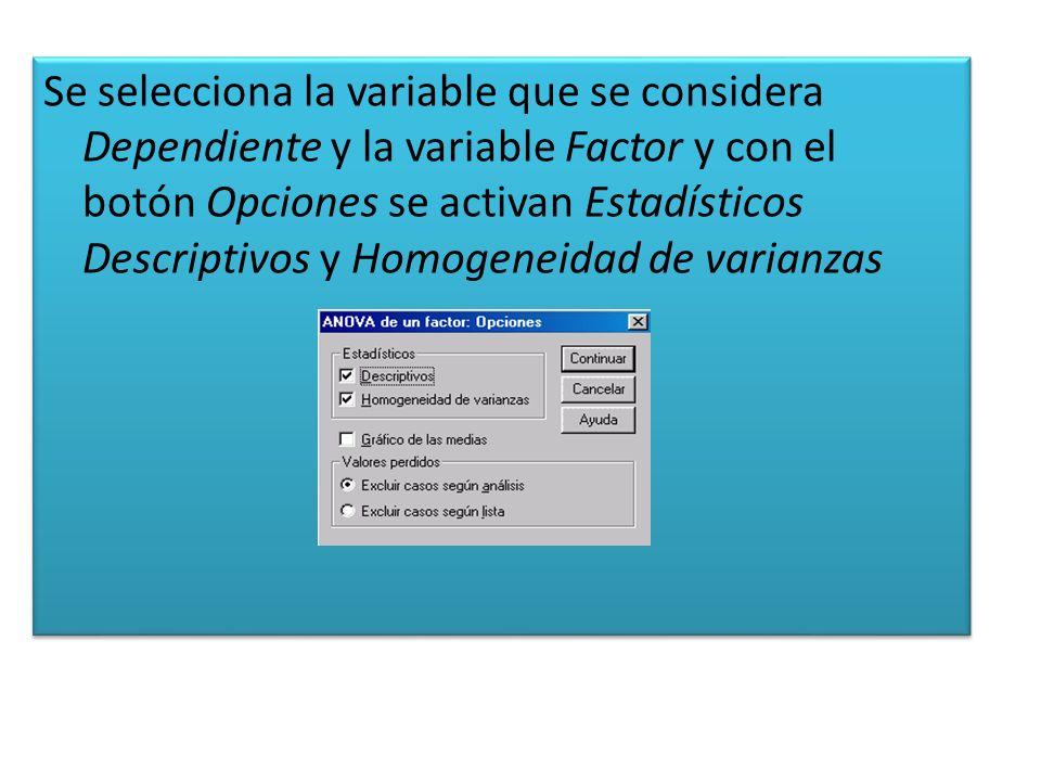 Se selecciona la variable que se considera Dependiente y la variable Factor y con el botón Opciones se activan Estadísticos Descriptivos y Homogeneidad de varianzas
