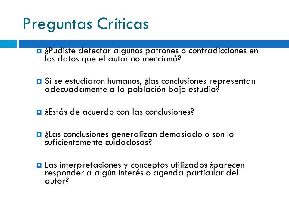 Preguntas Críticas ¿Pudiste detectar algunos patrones o contradicciones en los datos que el autor no mencionó