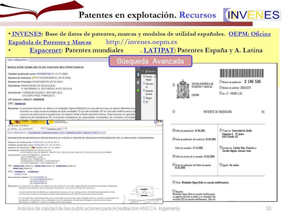 Indicios de calidad de las publicaciones para acreditaci n for Oficina espanola de patentes y marcas