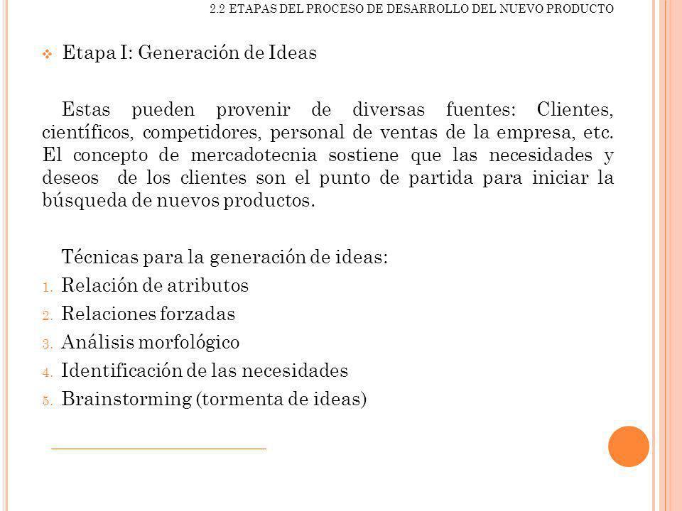 Etapa I: Generación de Ideas