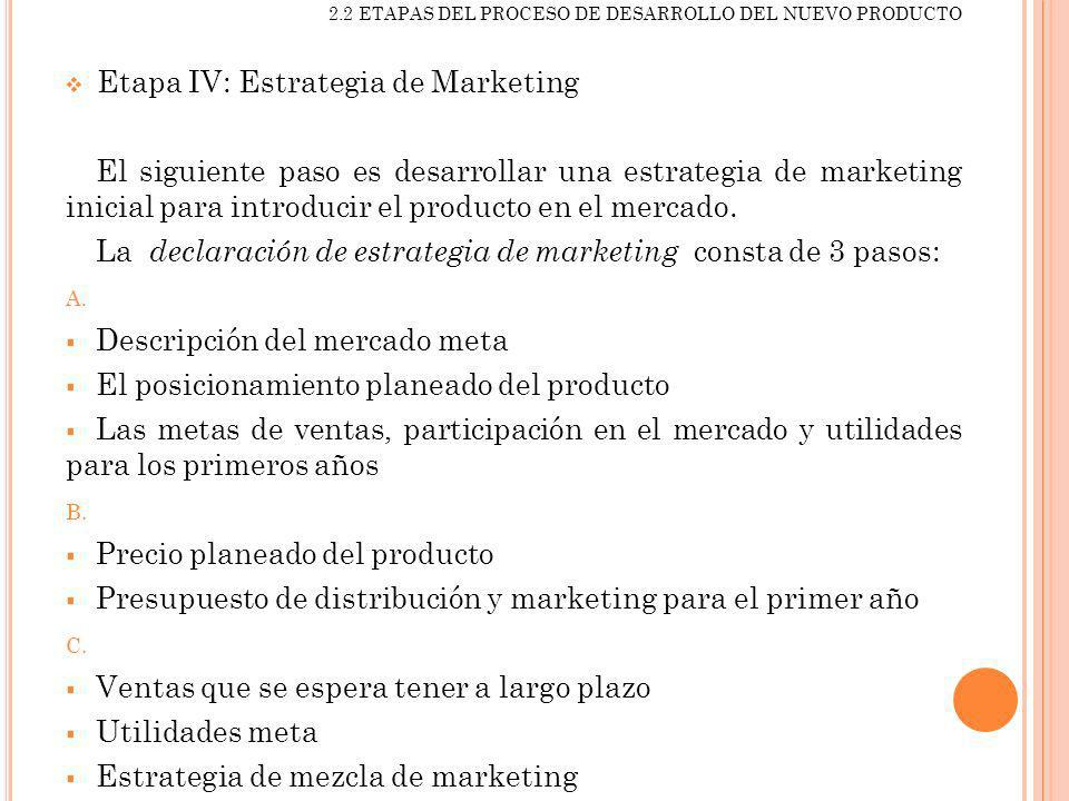 Etapa IV: Estrategia de Marketing