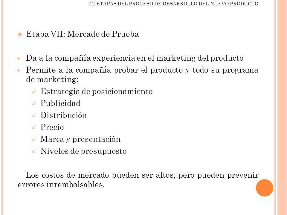Etapa VII: Mercado de Prueba