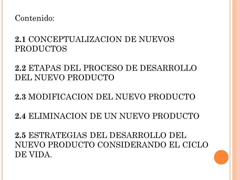 Contenido: 2.1 CONCEPTUALIZACION DE NUEVOS PRODUCTOS. 2.2 ETAPAS DEL PROCESO DE DESARROLLO DEL NUEVO PRODUCTO.