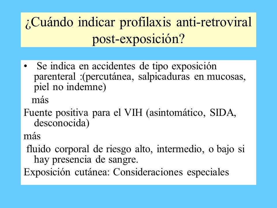 ¿Cuándo indicar profilaxis anti-retroviral post-exposición
