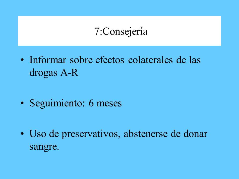 7:Consejería Informar sobre efectos colaterales de las drogas A-R.