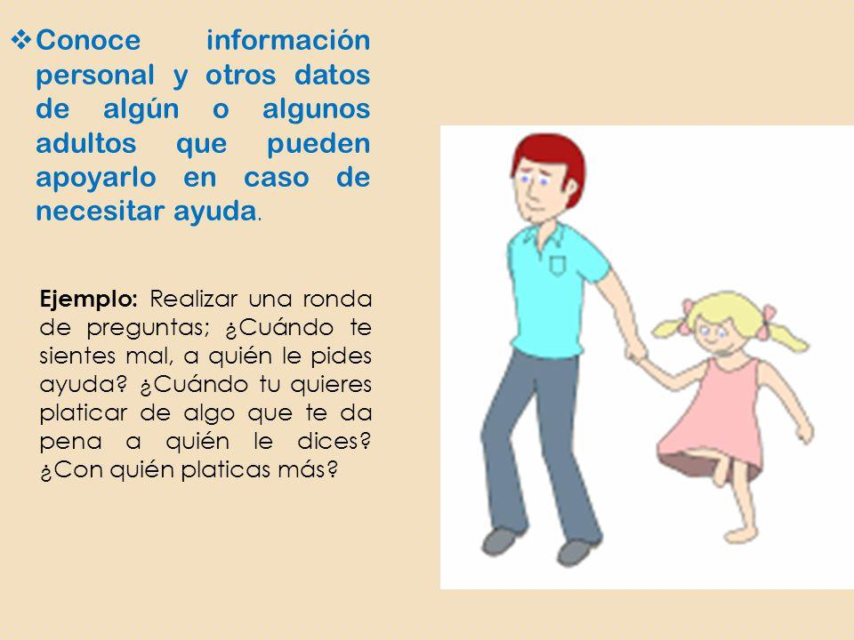 Conoce información personal y otros datos de algún o algunos adultos que pueden apoyarlo en caso de necesitar ayuda.