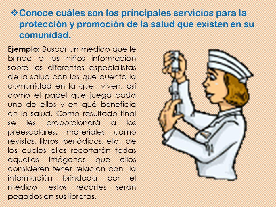 Conoce cuáles son los principales servicios para la protección y promoción de la salud que existen en su comunidad.