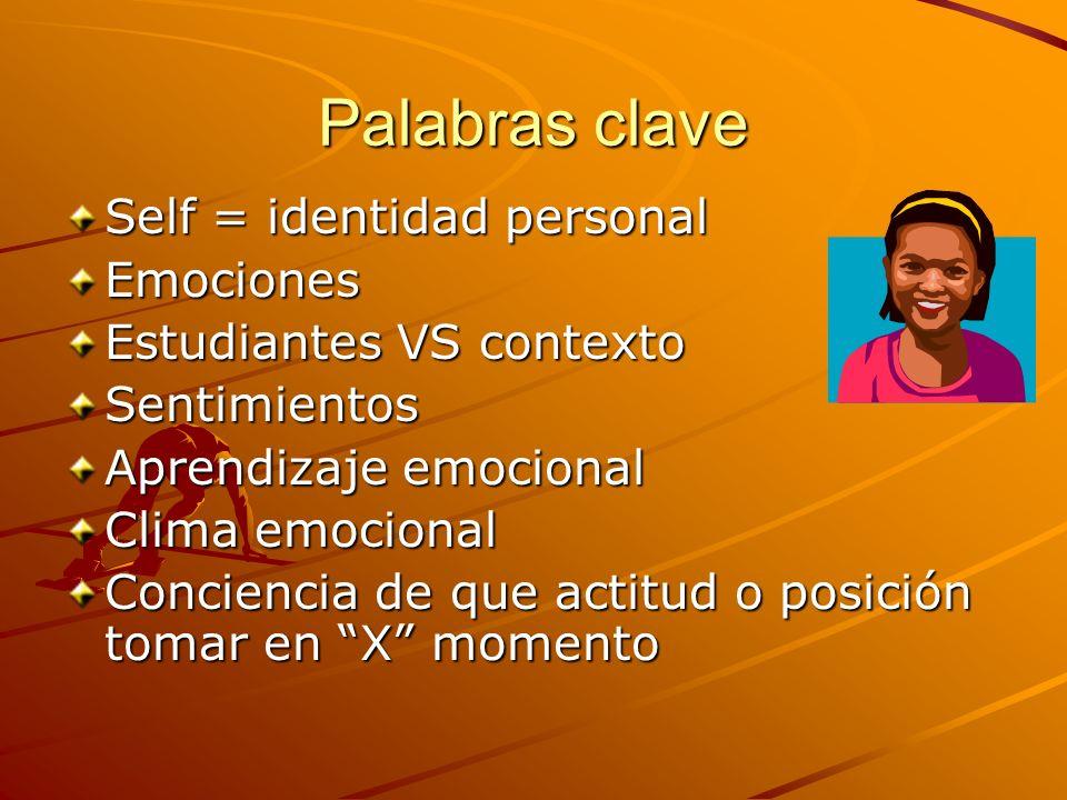 Palabras clave Self = identidad personal Emociones