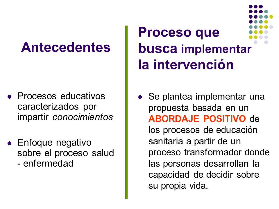 Proceso que busca implementar la intervención