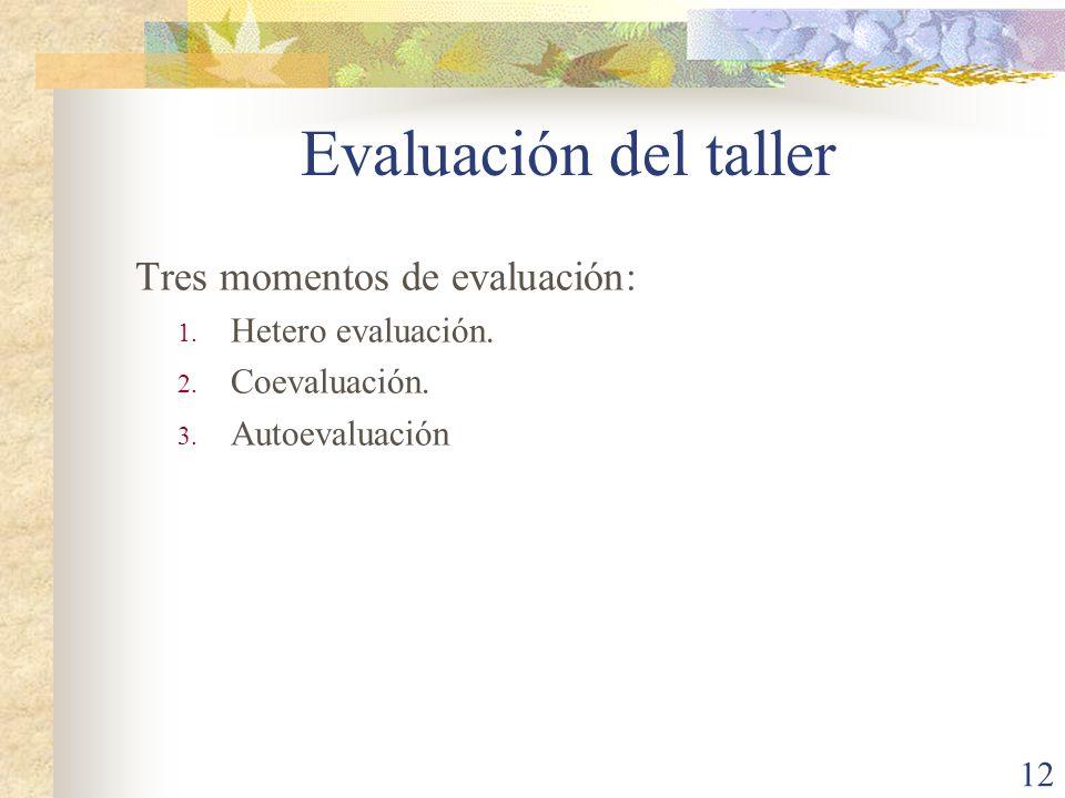 Evaluación del taller Tres momentos de evaluación: Hetero evaluación.