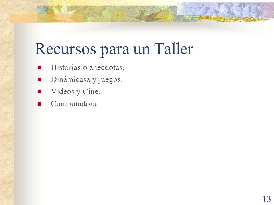 Recursos para un Taller