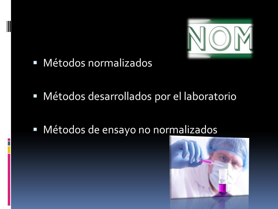Métodos normalizados Métodos desarrollados por el laboratorio Métodos de ensayo no normalizados