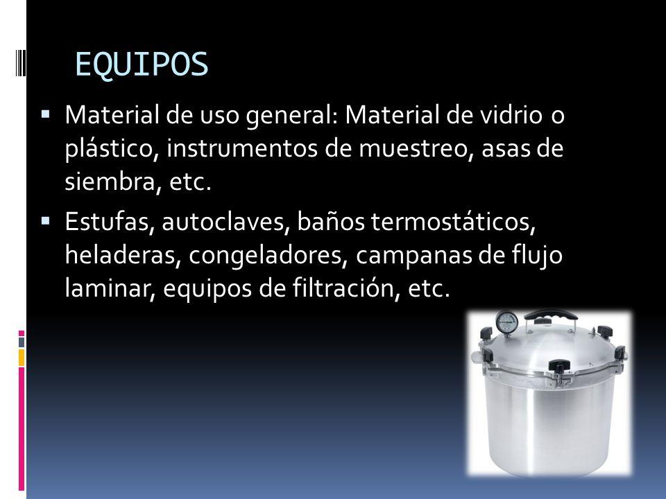 EQUIPOSMaterial de uso general: Material de vidrio o plástico, instrumentos de muestreo, asas de siembra, etc.