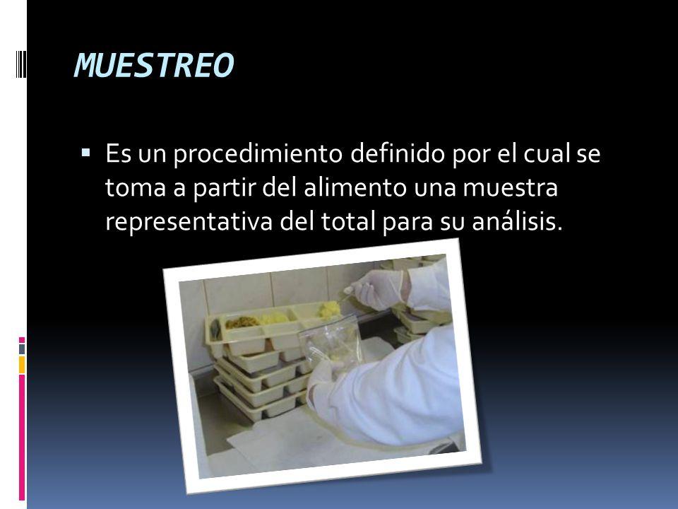 MUESTREOEs un procedimiento definido por el cual se toma a partir del alimento una muestra representativa del total para su análisis.