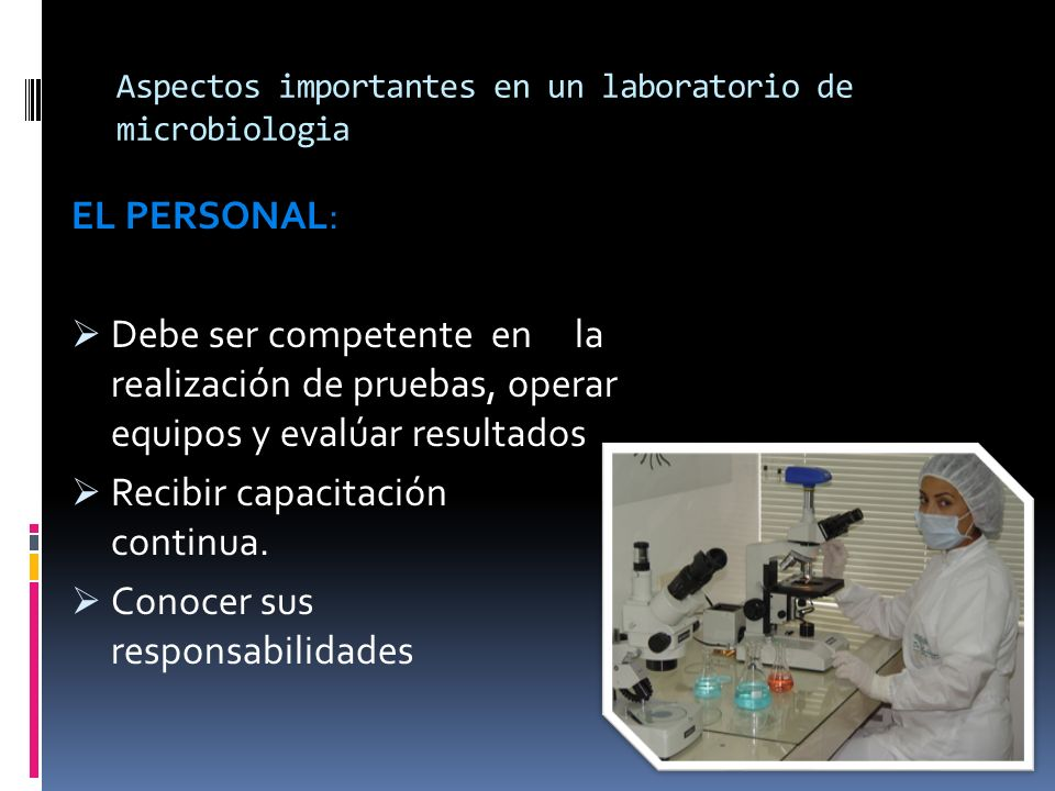 Aspectos importantes en un laboratorio de microbiologia