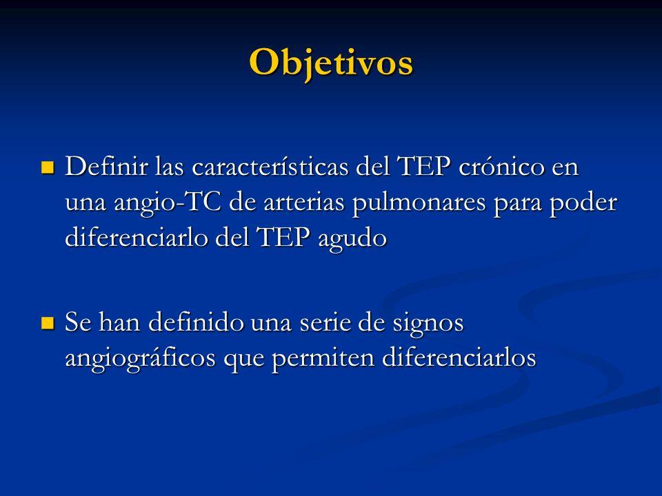 Objetivos Definir las características del TEP crónico en una angio-TC de arterias pulmonares para poder diferenciarlo del TEP agudo.