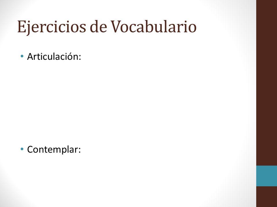 Ejercicios de Vocabulario
