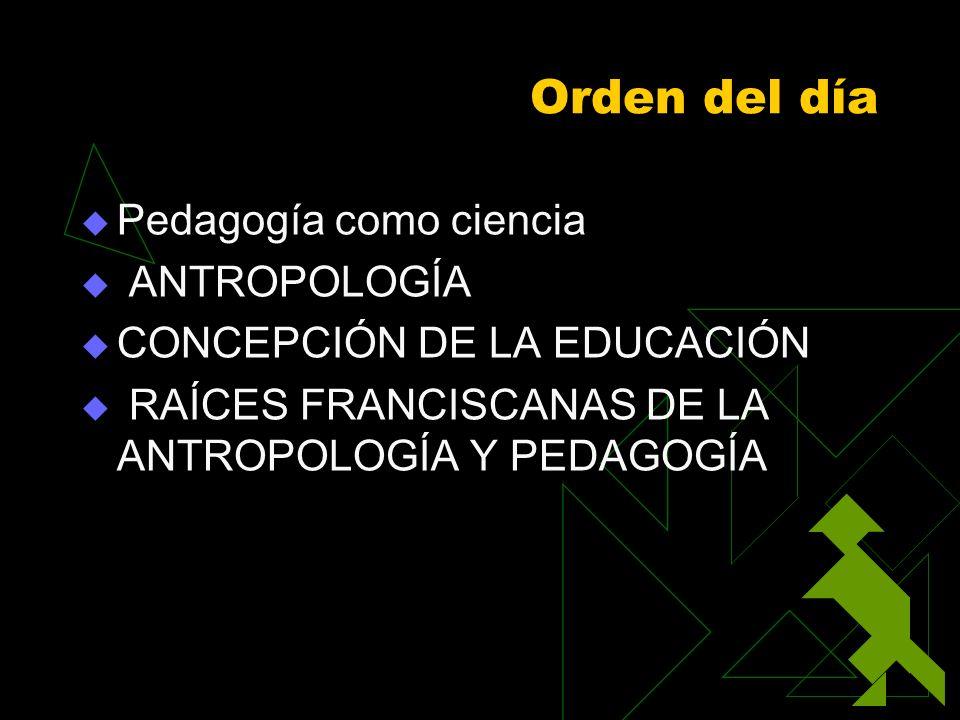 Orden del día Pedagogía como ciencia ANTROPOLOGÍA
