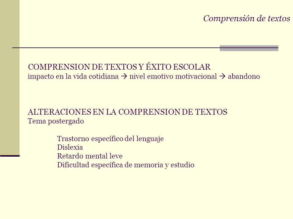 Comprensión de textos COMPRENSION DE TEXTOS Y ÉXITO ESCOLAR