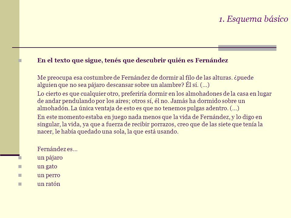 1. Esquema básico En el texto que sigue, tenés que descubrir quién es Fernández.