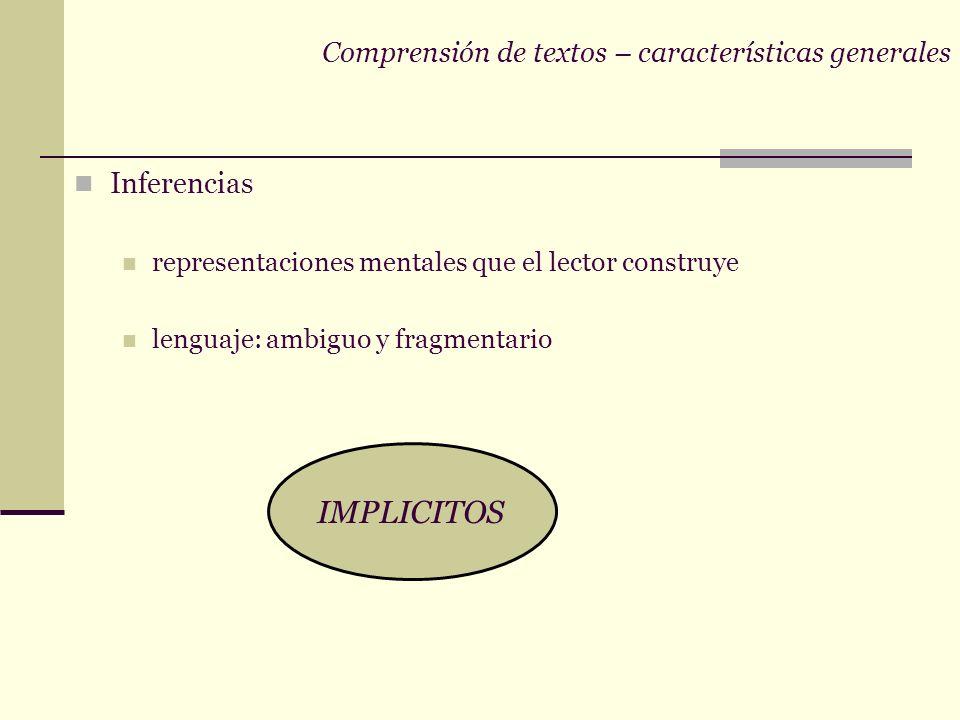 Comprensión de textos – características generales