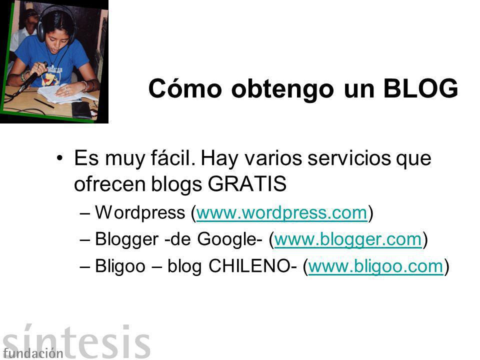 Cómo obtengo un BLOG Es muy fácil. Hay varios servicios que ofrecen blogs GRATIS. Wordpress (www.wordpress.com)