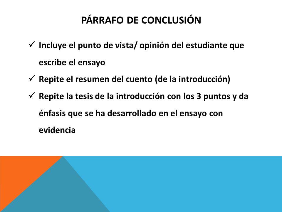 PÁrrafo de ConclusiónIncluye el punto de vista/ opinión del estudiante que escribe el ensayo. Repite el resumen del cuento (de la introducción)
