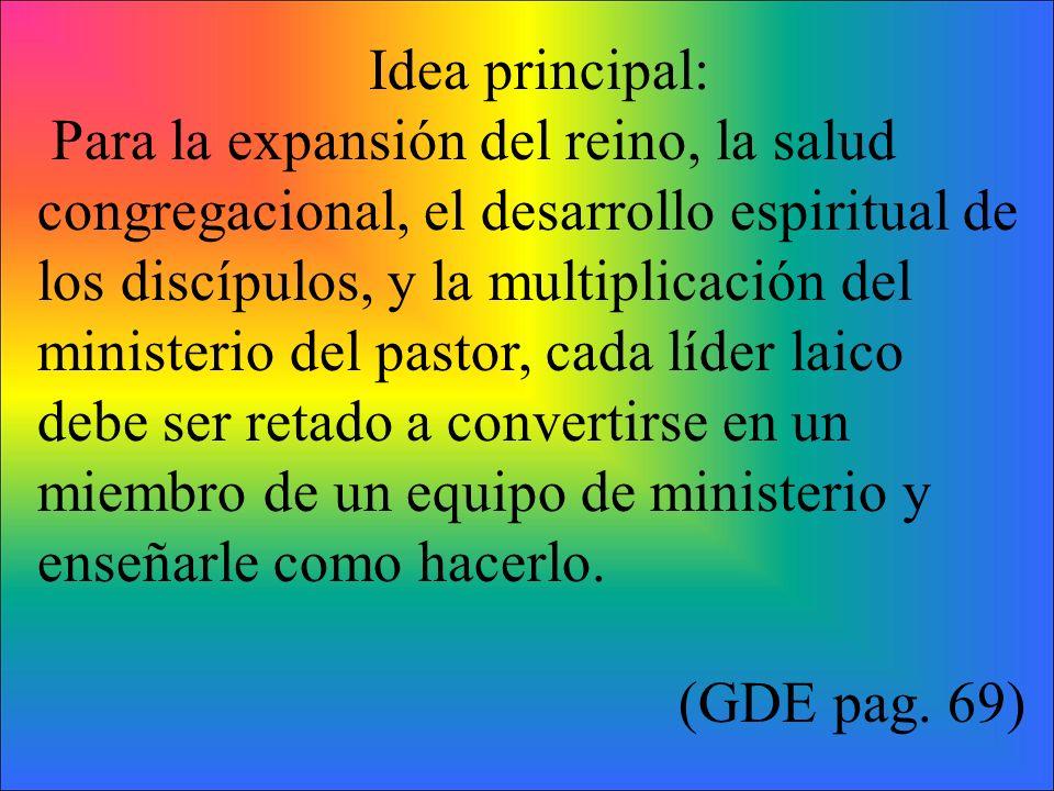 Idea principal: Para la expansión del reino, la salud congregacional, el desarrollo espiritual de.
