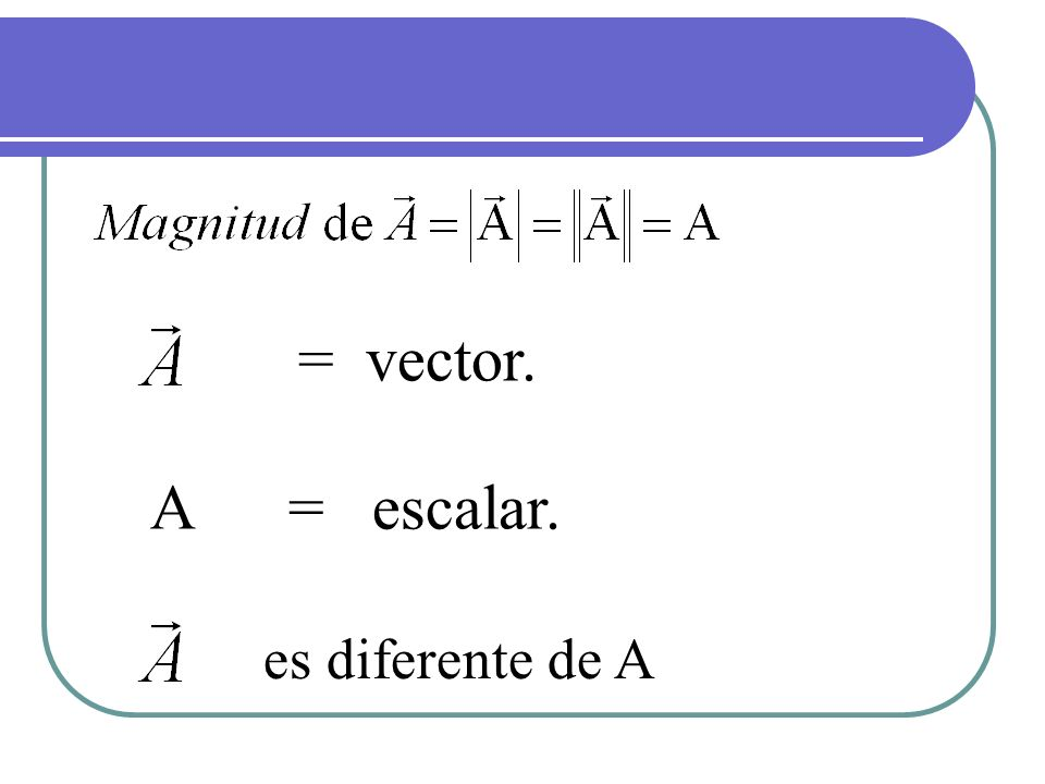 = vector. A = escalar. es diferente de A